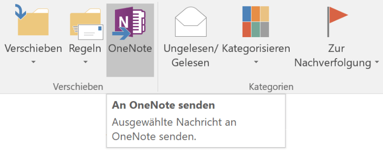 OneNote in der Outlook-Funktionsleiste