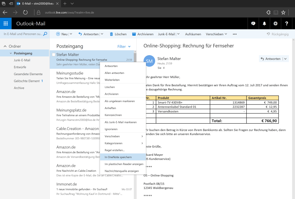 Outlook Online: An OneNote senden