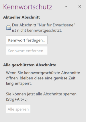 Kennwortschutz in OneNote