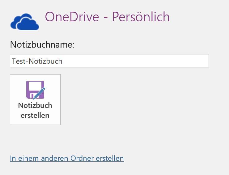Name für neues OneNote-Notizbuch