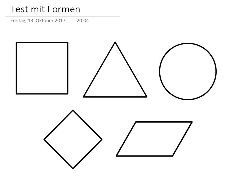 umgewandelte Formen in OneNote