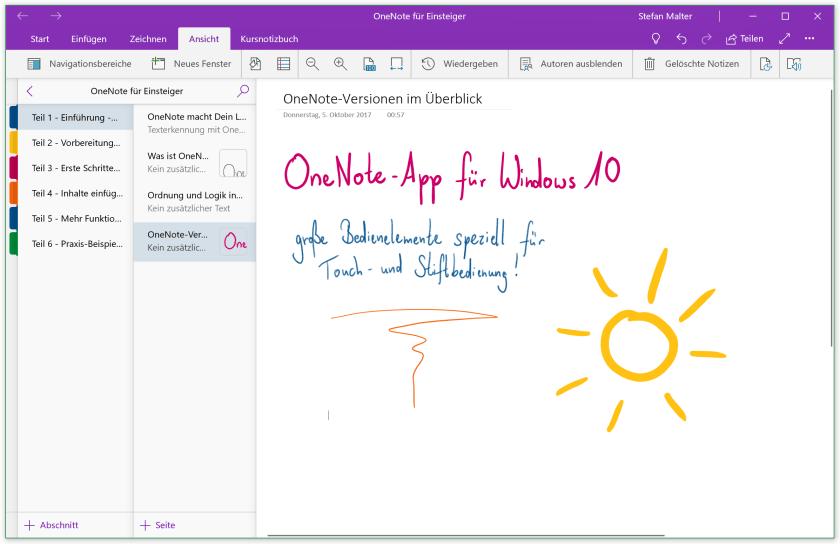 OneNote-App für Windows 10
