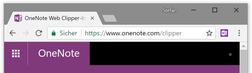 Icon für den OneNote Web Clipper