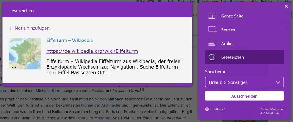 Lesezeichen mit OneNote Web Clipper speichern