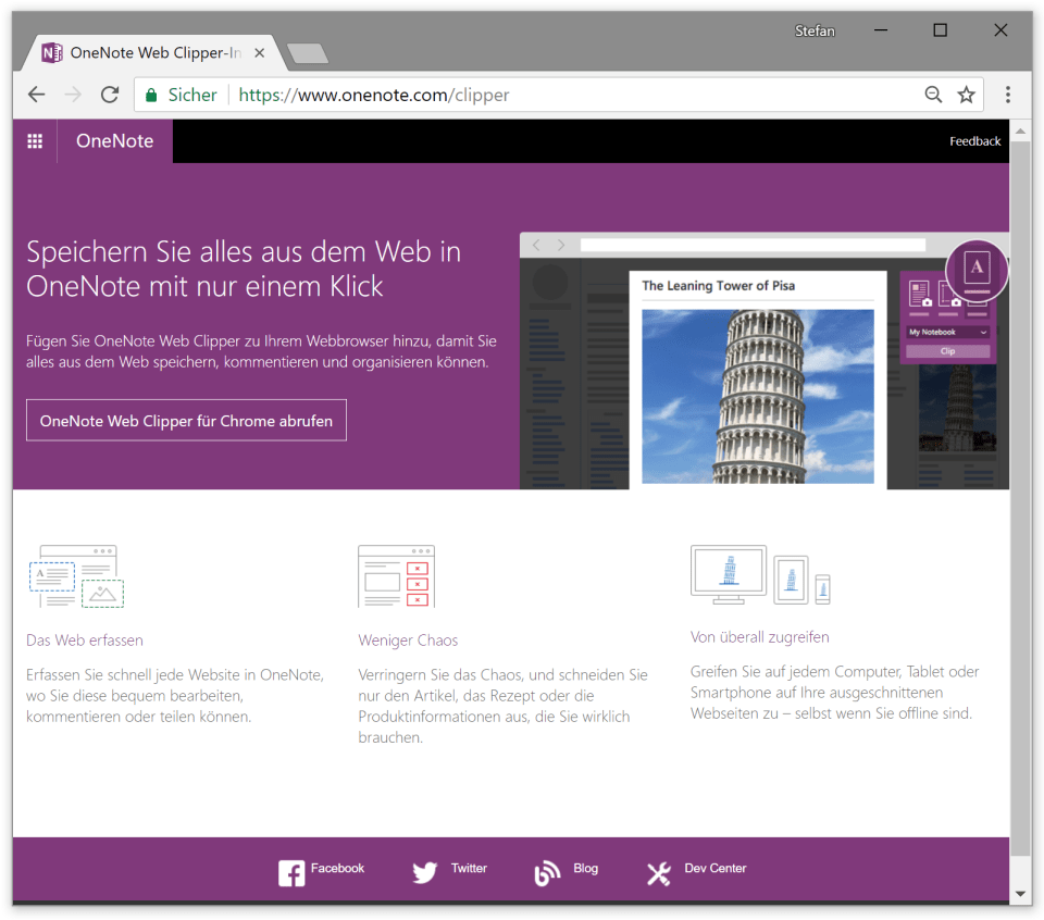 OneNote Web Clipper - official website