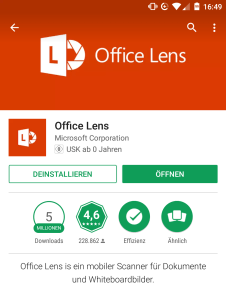 Office Lens im Google PlayStore für Android