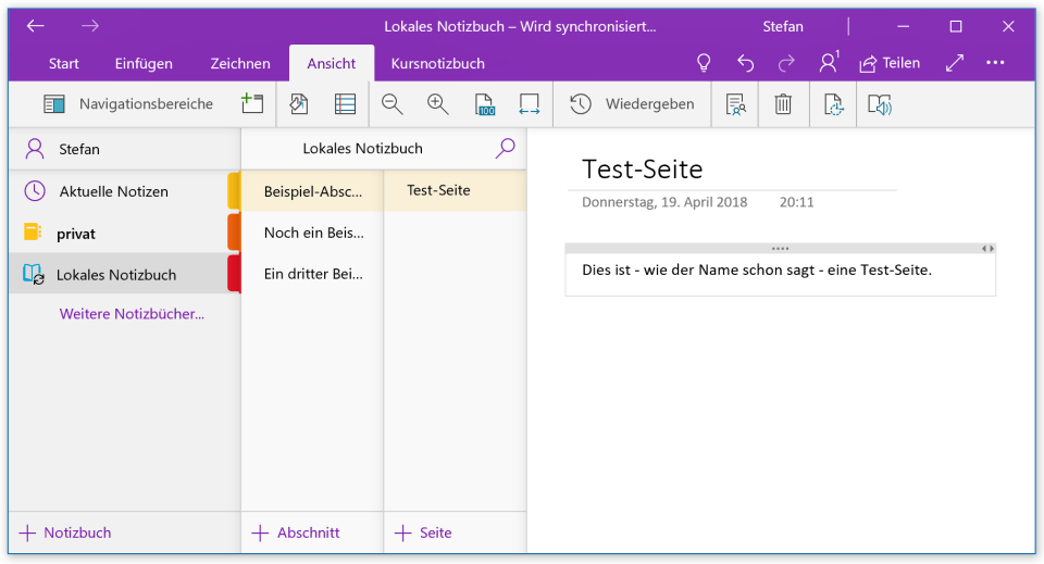Notizbuch in OneNote für Windows 10