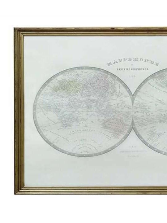 Wood Framed Map Detail