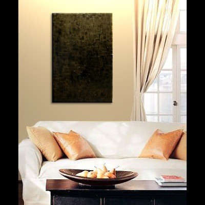 Black and Gold Abstract Painting Textured Palette Knife