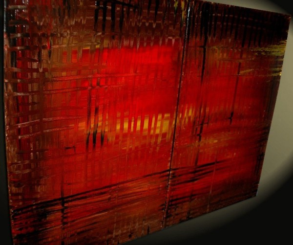 Large Red Abstract Painting Bold Modern Original Textured