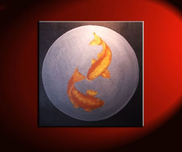 Large Koi Fish Painting Black Silver and Gold Chinese Zen