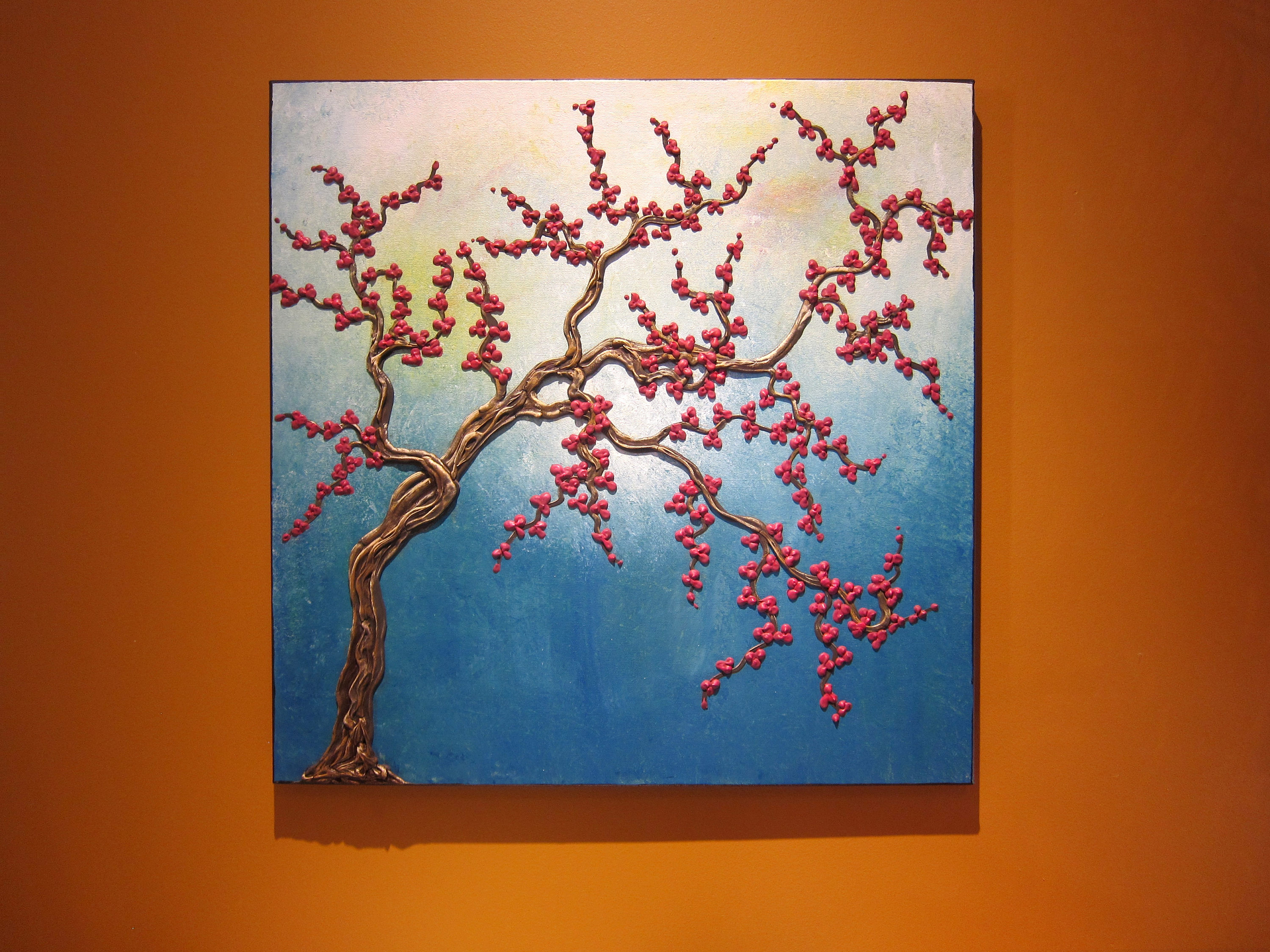 Turquoise Cherry Blossom Tree Painting Super Three Dimensional