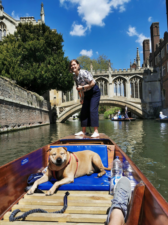 Sash enjoying punting in Cambridge