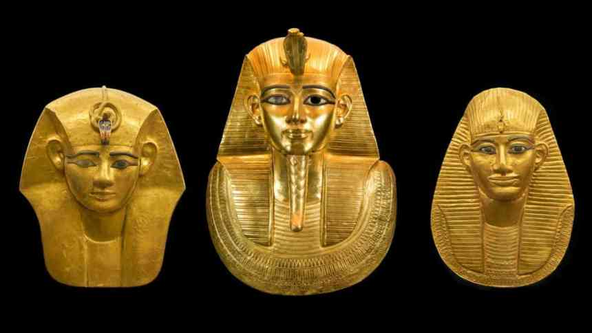 three egyptian gold mummy masks of pharaohs from ancient egypt 1280x720 1