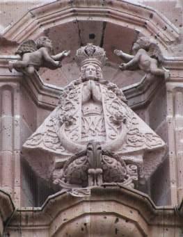 Sculptured image of Our Lady of San Juan de los Lagos on church façade