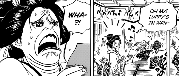 Franky, Robin, Usopp, and Zoro are surprised to hear about Luffy.