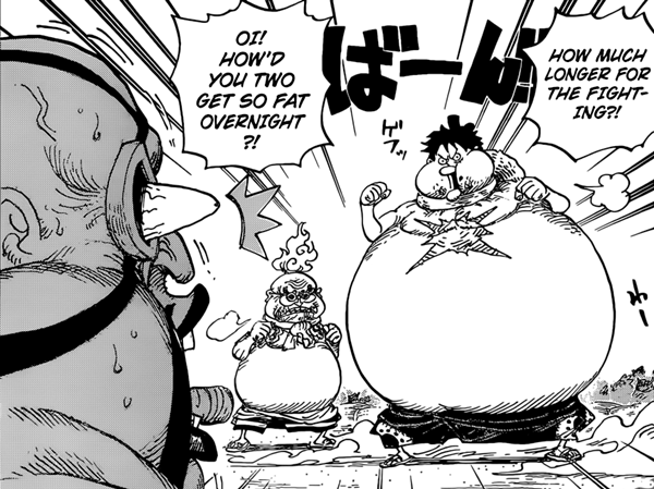 Luffy and Hyogoro ate all of Queen's o-shiruko and get fat.