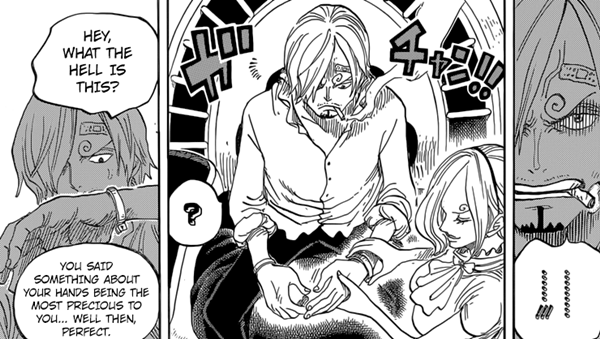 Reiju places exploding wristlets on Sanji's arms