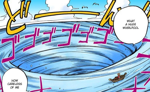 LUFFY runs into the giant whirlpool