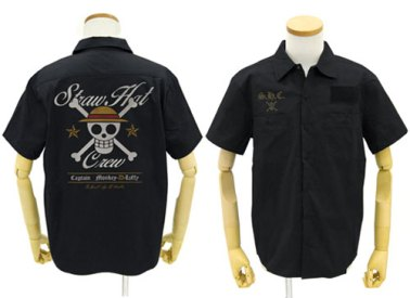 One Piece Straw Hat Pirates EmbroideryWork Shirt BLACK 02