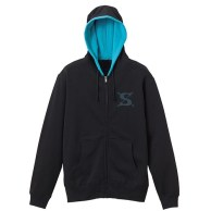One Piece Sabo Zippered Parka BLACK x TURQUOISE BLUE 01