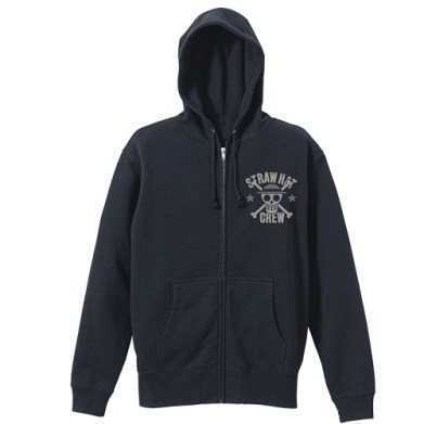 One Piece Straw Hat Pirates VintageFu Zippered Parka BLACK