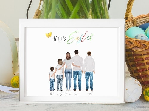 Custom Family Portrait Easter Spring Etsy