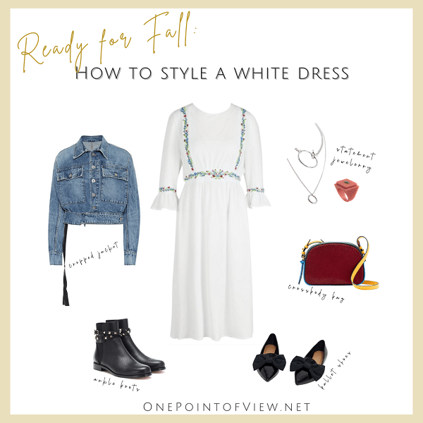 How to style a white dress - Fall outfit Idea