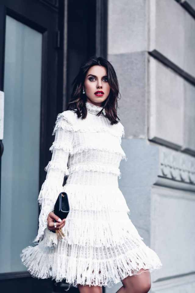 Ready for Fall: Stylish Ways To Accessorize Your Little White Dress: Swipe on a Darker Lip Colour