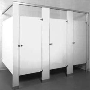 White Powder Coated Bathroom Stalls
