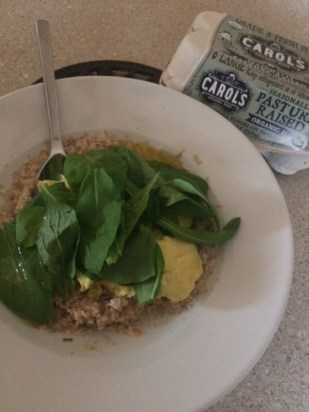 Organic Eggs, Oatmeal and Arugula