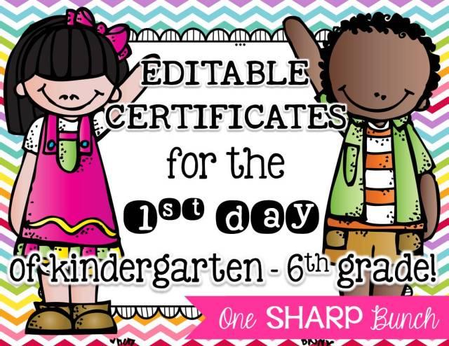 http://www.teacherspayteachers.com/Product/First-Day-of-School-Certificates-EDITABLE-1419837