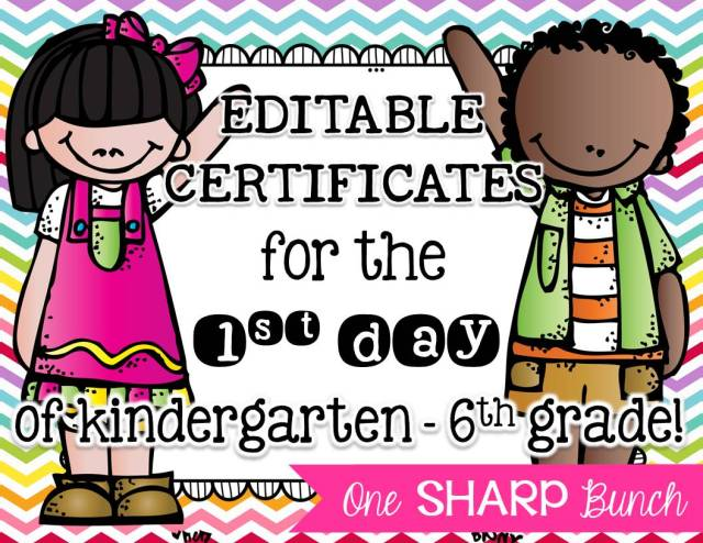 http://www.teacherspayteachers.com/Product/First-Day-of-School-Certificates-EDITABLE-1419837