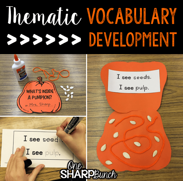 Do your student struggle with learning new vocabulary words? Check out these tips for building vocabulary and making abstract words more concrete! Plus, there are a variety of pumpkin ideas perfect for pumpkin week, like this pumpkin craft!