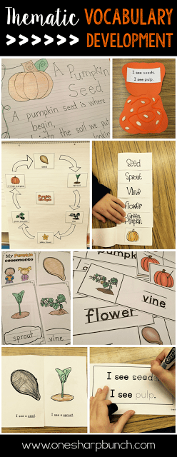 Do your student struggle with learning new vocabulary words? Check out these tips for building vocabulary and making abstract words more concrete! Plus, there are a variety of pumpkin ideas perfect for pumpkin week!