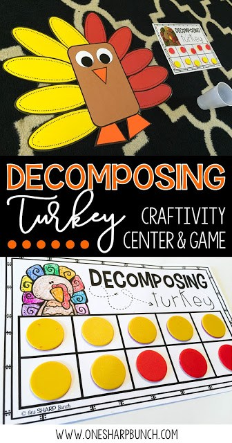 Build number sense with these interactive and thematic Decomposing Turkey activities! Gather the correct number of red and yellow feathers and place them around the turkey craft. Don't forget to sing the fun chant!