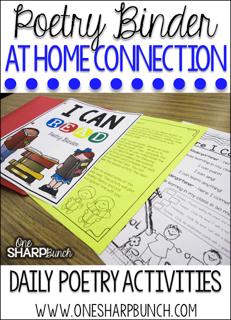 A poetry binder or poetry notebook is the perfect way to incorporate poetry activities into your daily lessons! By using a poem of the week, you help build reading fluency, phonics and phonemic awareness skills, comprehension, concepts of print and more!