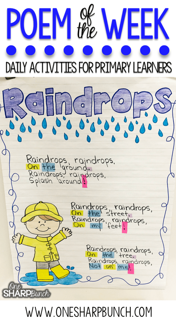 This rain poem is the perfect way to incorporate poetry activities into your daily lessons this spring!  Don't miss how this teacher breaks down this poem of the week to help build reading fluency, phonics and phonemic awareness skills, comprehension, concepts of print and more!