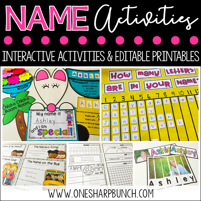 Practice alphabet recognition in context with editable name activities, including name crafts, name graphs, name poems, and name sorting mats! We love the Chrysanthemum activities!