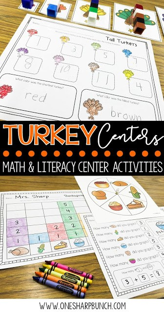 FREE turkey life cycle activities, including pocket chart sentences. Perfect for Thanksgiving centers and turkey time! Keep your kiddos engaged with these turkey activities, adorable turkey crafts and turkey centers!