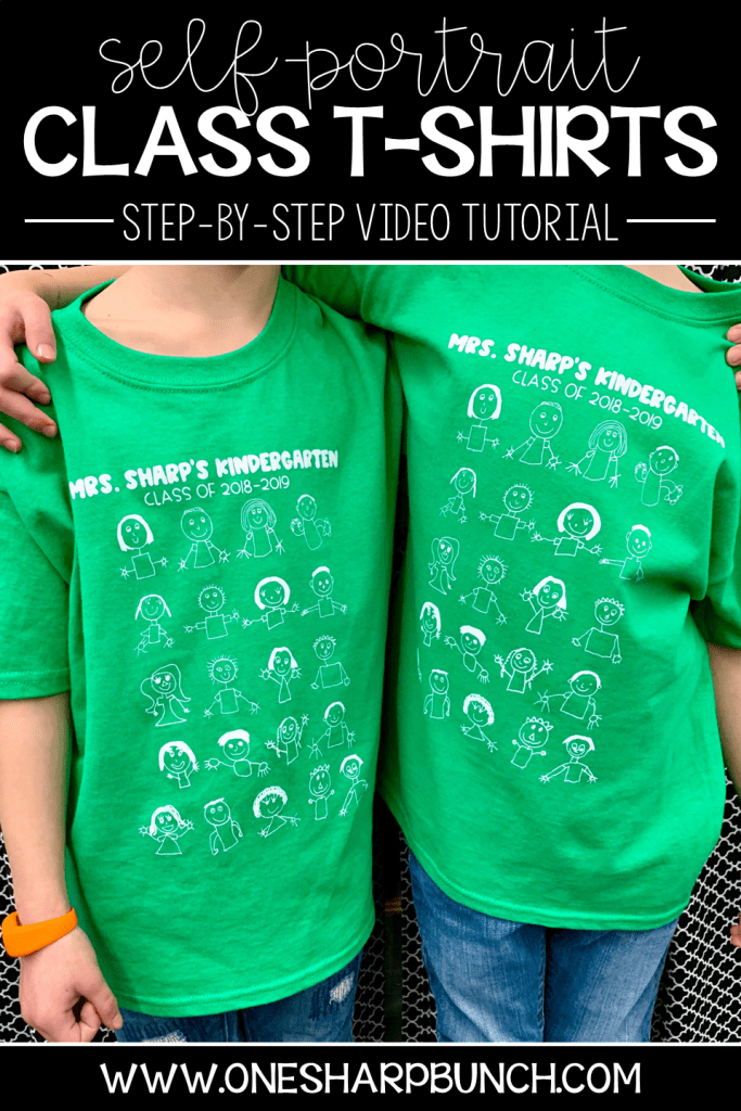 """Celebrate the end-of-the-year with a self-portrait class t-shirt! It is the perfect end-of-the-year student gift, as well as sentimental keepsake, as you end a """"TEE-riffic Year!"""" FREE gift tag and video tutorial included!"""