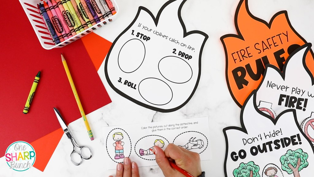 Celebrate fire safety week or fire prevention month with these interactive fire safety rules, fire safety activities and fire safety crafts for preschool, pre-k and kindergarten! #firesafety #firesafetyweek #firesafetyprevention #fireprevention #firesafetycrafts #preschool #kindergarten #firstgrade