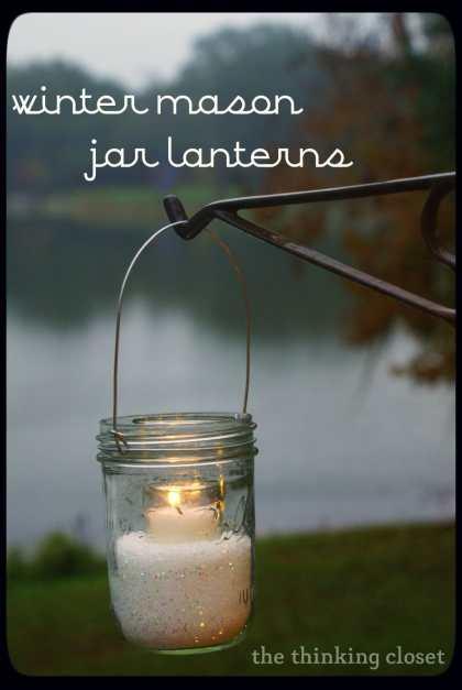 Winter Mason Jar Lanterns by The Thinking Closet