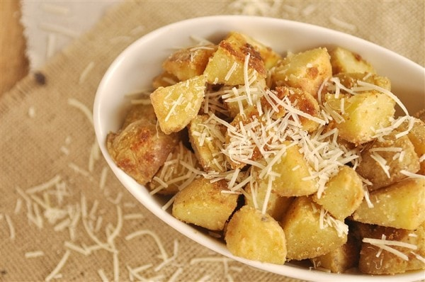 Parmesan Roasted Potatoes @yourhomebasedmom.com