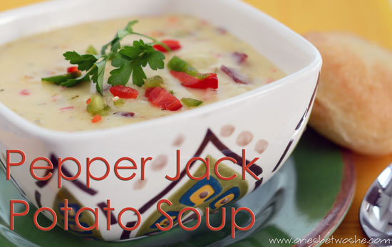 Pepper jack potato bacon soup or so she says adapted from the food nanny rescues dinner feeds about 10 adults fills a large pot forumfinder Images