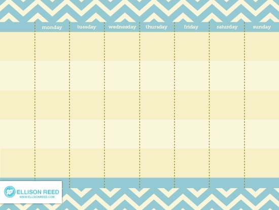 Free Printable Weekly Calendar (She: Melissa) - Or So She Says