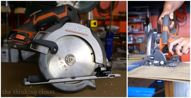 Circular saw for cutting fiber board.