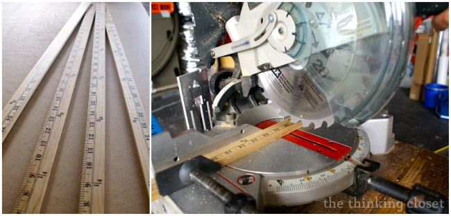 Cutting the yardstick pieces with the miter saw.