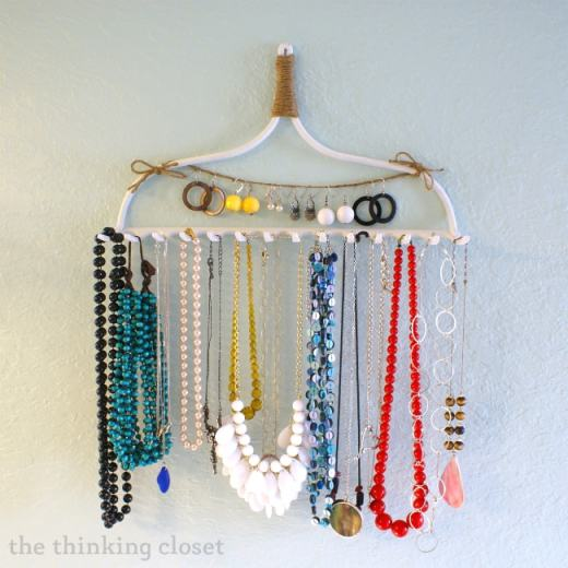 DIY Rake Necklace Hanger by The Thinking Closet