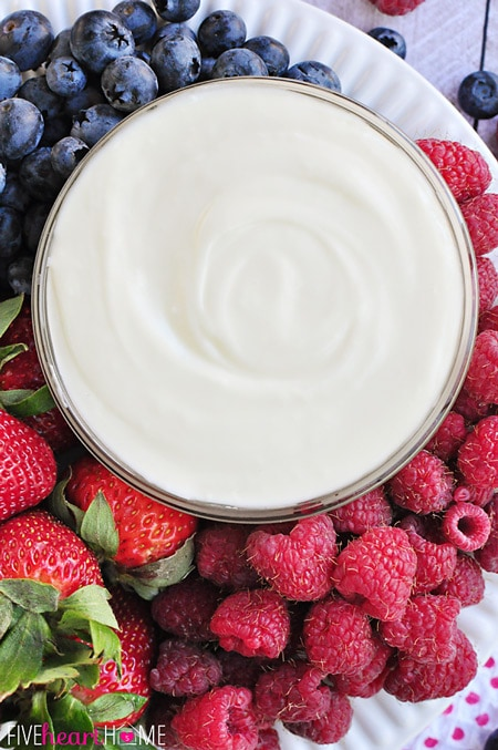 White Chocolate Cheesecake Dip ~ melted white chocolate, blended with cream cheese and fresh whipped cream, makes an effortless, delicious fruit dip | FiveHeartHome.com for OneSheTwoShe.com